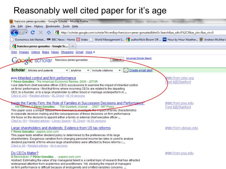 Reasonably well cited paper for it's age