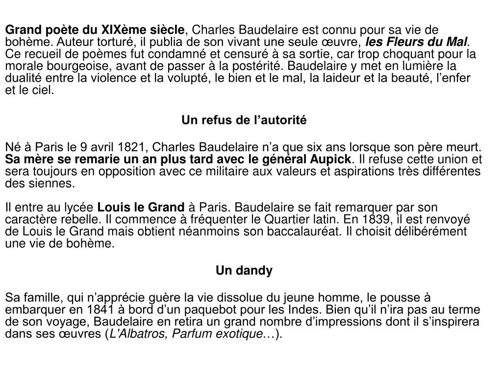 Ppt Charles Baudelaire 9 Avril 1821 31 Août 1867