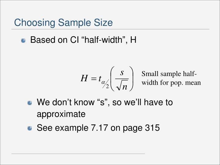 Small sample half-width for pop. mean