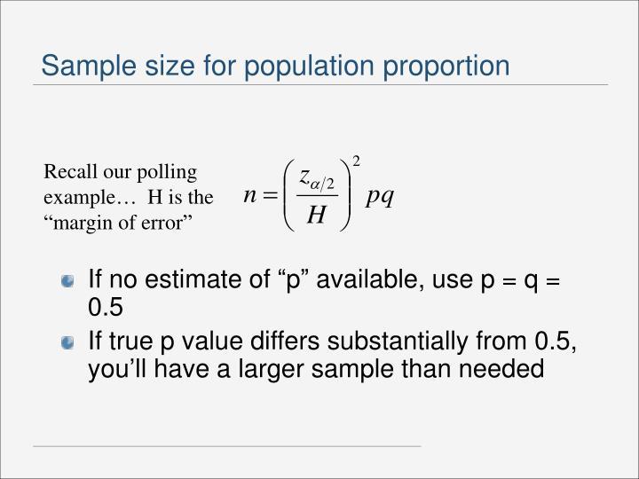 Sample size for population proportion