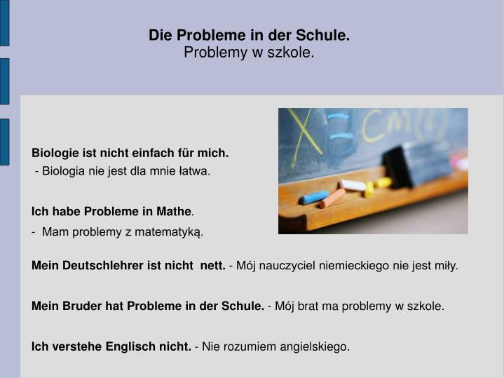 Die Probleme in der Schule.