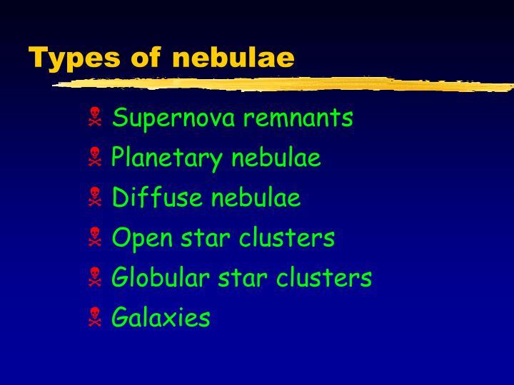 Types of nebulae