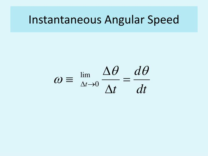 Instantaneous Angular Speed