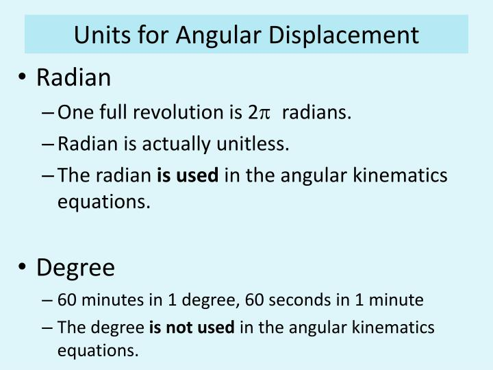 Units for Angular Displacement