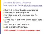canadian business database best source for finding local competitors