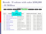 result 11 salons with sales 500 000 1 million