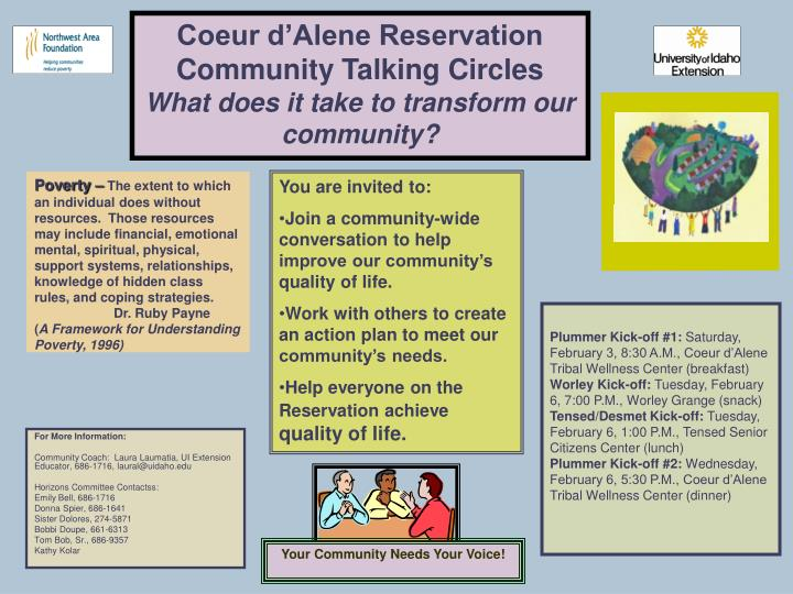 PPT - Coeur d'Alene Reservation Community Talking Circles
