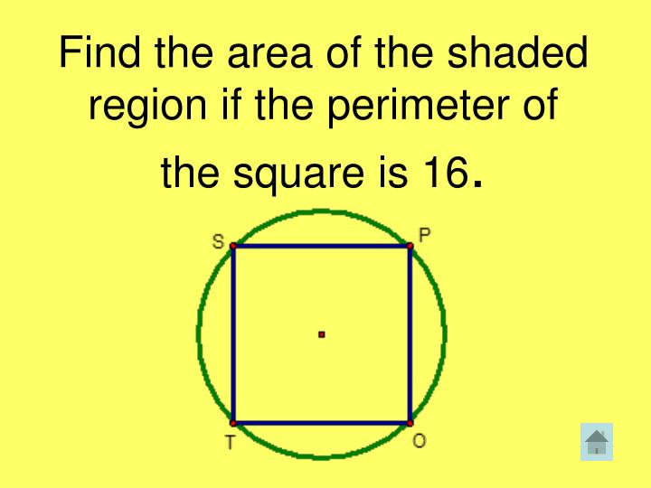 Find the area of the shaded region if the perimeter of the square is 16