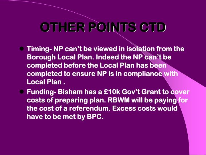 OTHER POINTS CTD