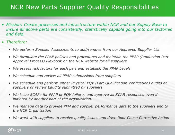 NCR New Parts Supplier Quality Responsibilities