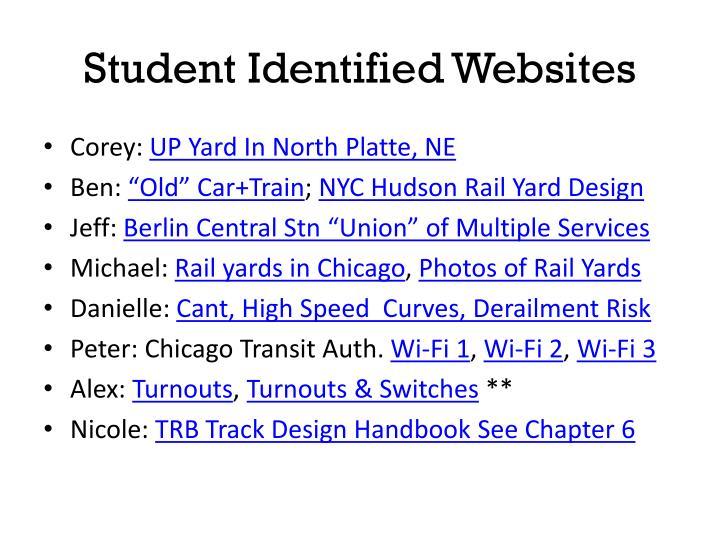 Student identified websites