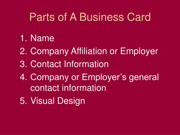 Parts of A Business Card