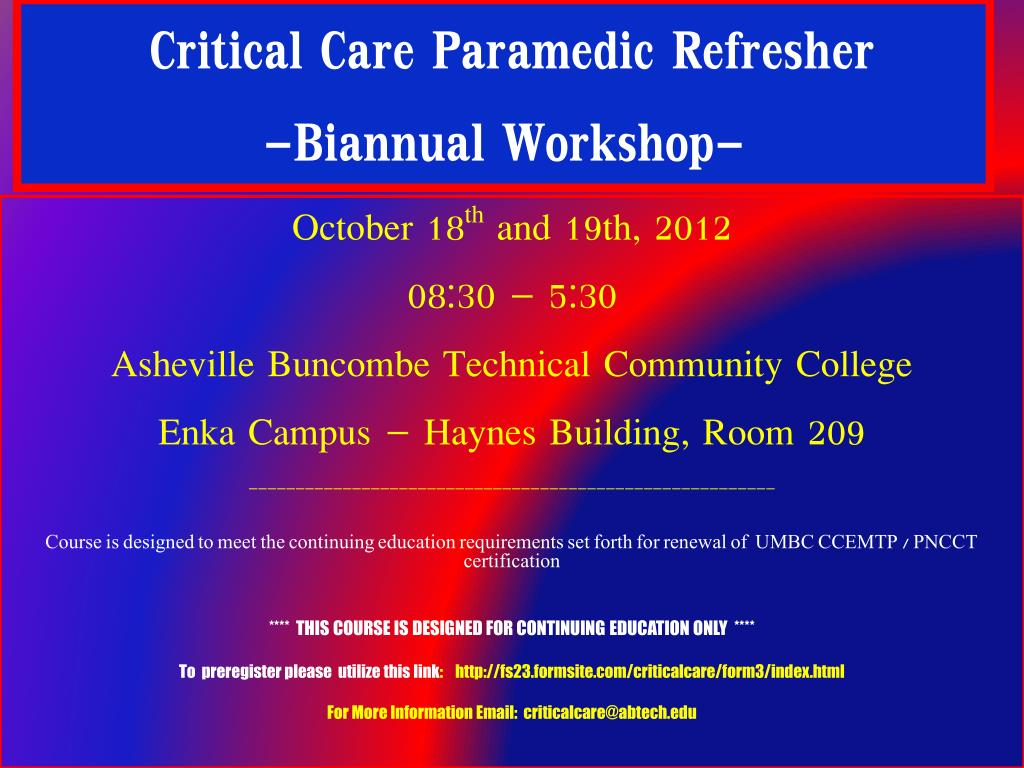 Ppt Critical Care Paramedic Refresher Biannual Workshop