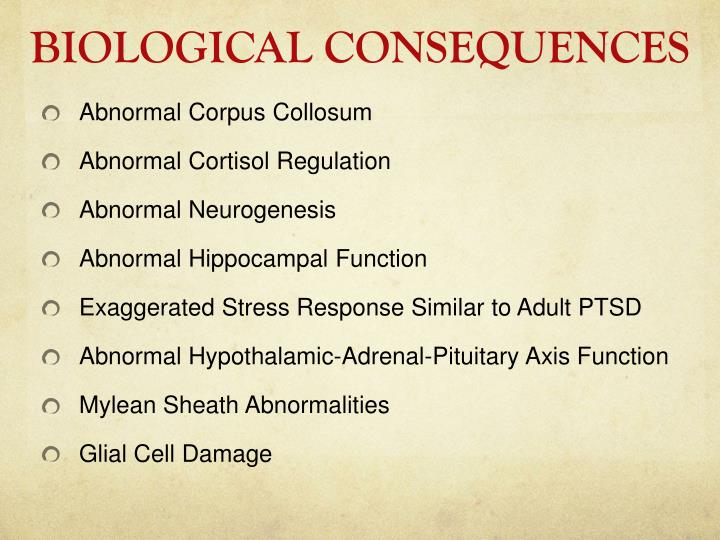 BIOLOGICAL CONSEQUENCES