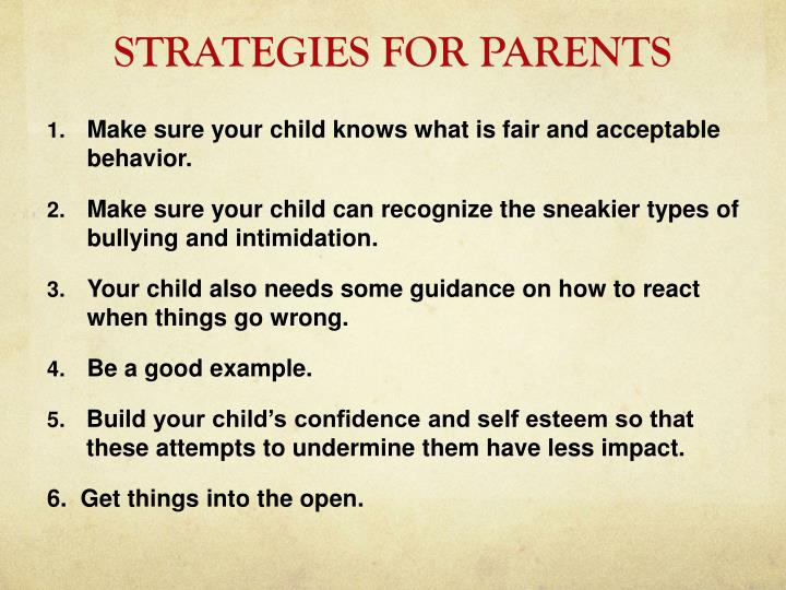 STRATEGIES FOR PARENTS