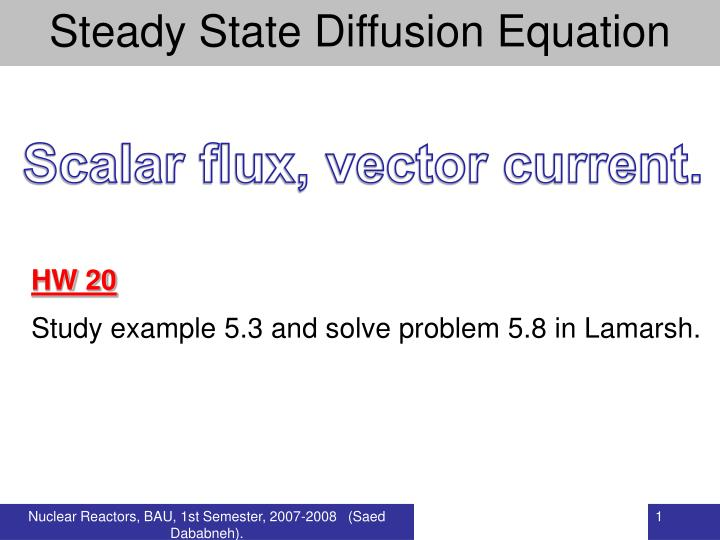 PPT - Steady State Diffusion Equation PowerPoint