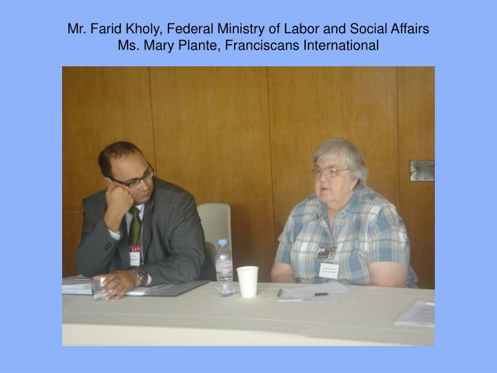 Mr. Farid Kholy, Federal Ministry of Labor and Social Affairs