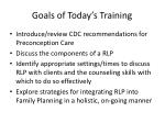 goals of today s training