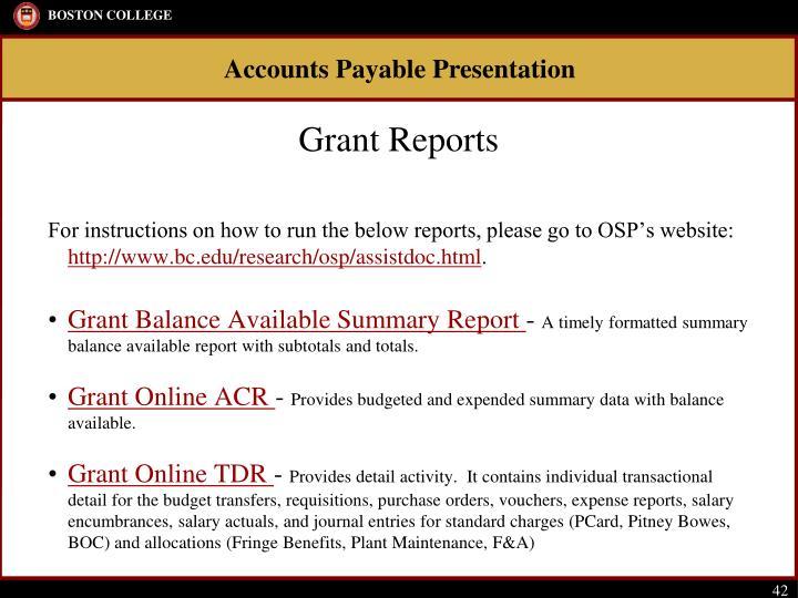 Grant Reports