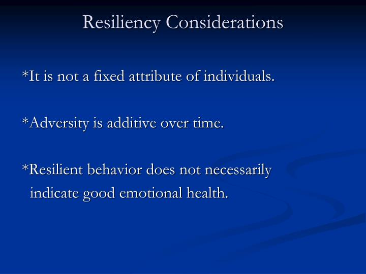 Resiliency Considerations