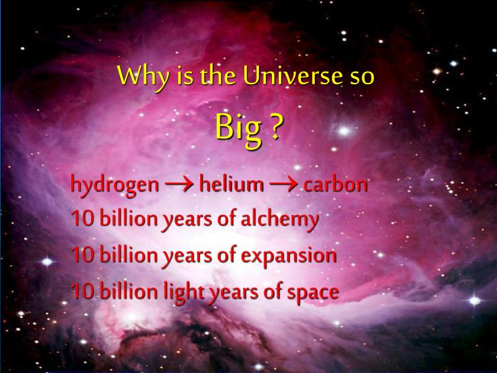 Why is the Universe so