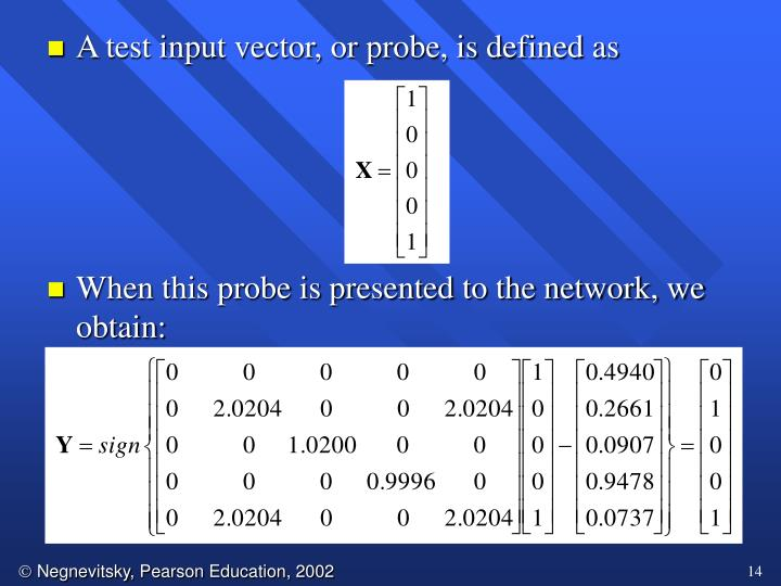 A test input vector, or probe, is defined as