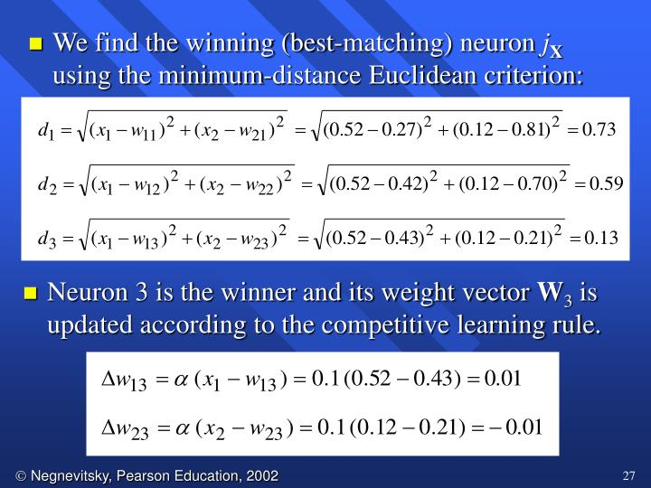 We find the winning (best-matching) neuron