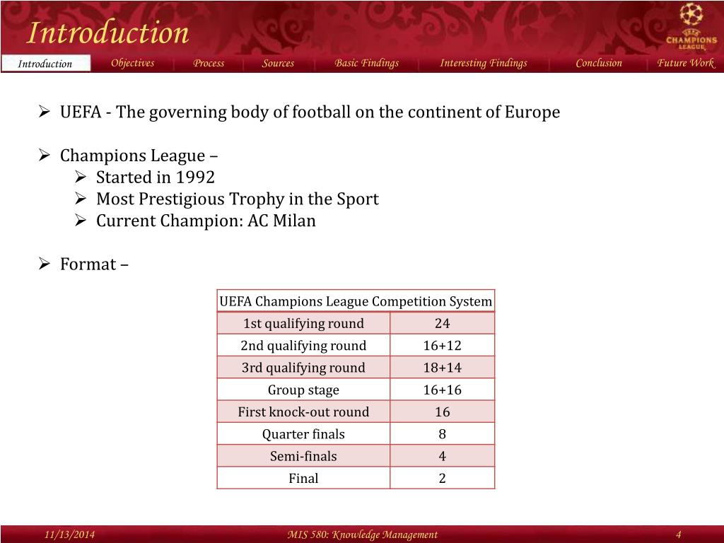 PPT - Knowledge Management for UEFA Champions League