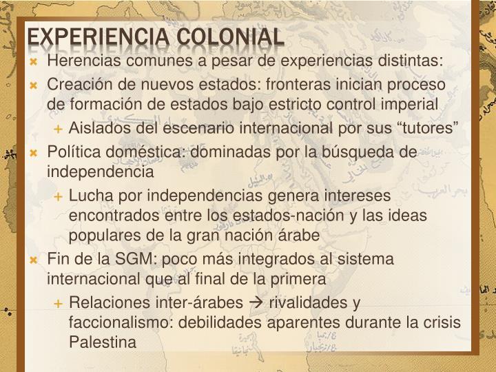 Experiencia colonial