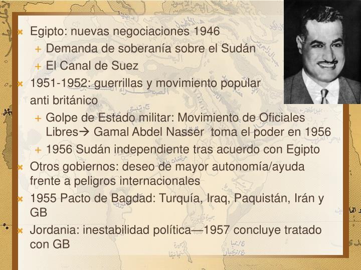 Egipto: nuevas negociaciones 1946