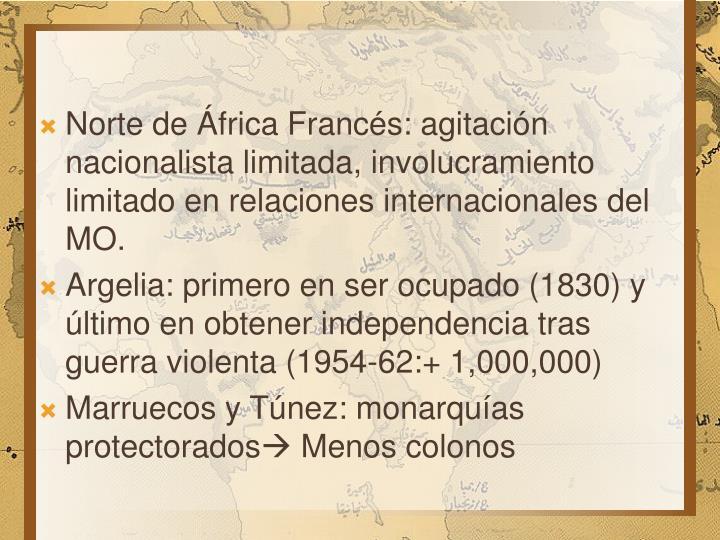 Norte de África Francés: agitación nacionalista limitada, involucramiento limitado en relaciones internacionales del MO.