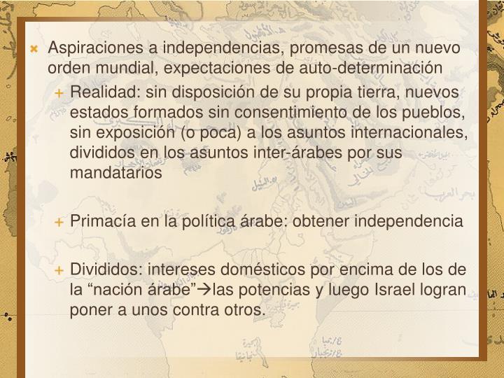 Aspiraciones a independencias, promesas de un nuevo orden mundial, expectaciones de auto-determinación