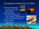 occupations industries out west