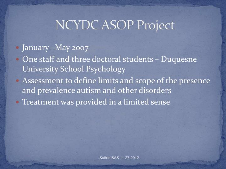 NCYDC ASOP Project