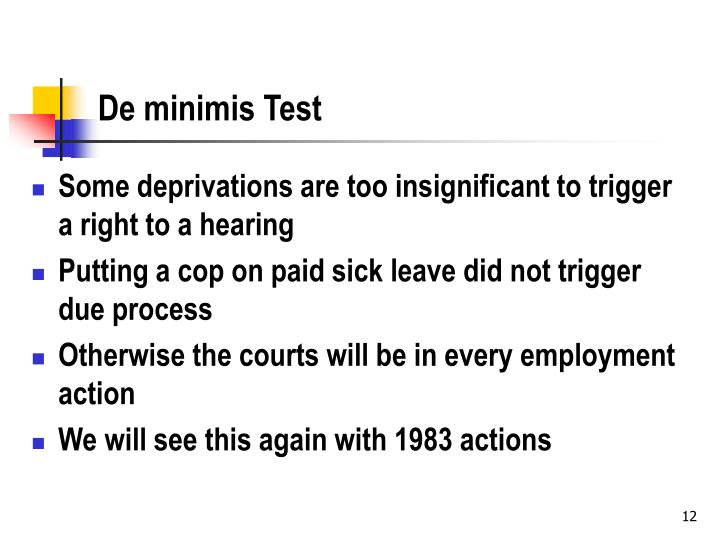 De minimis Test