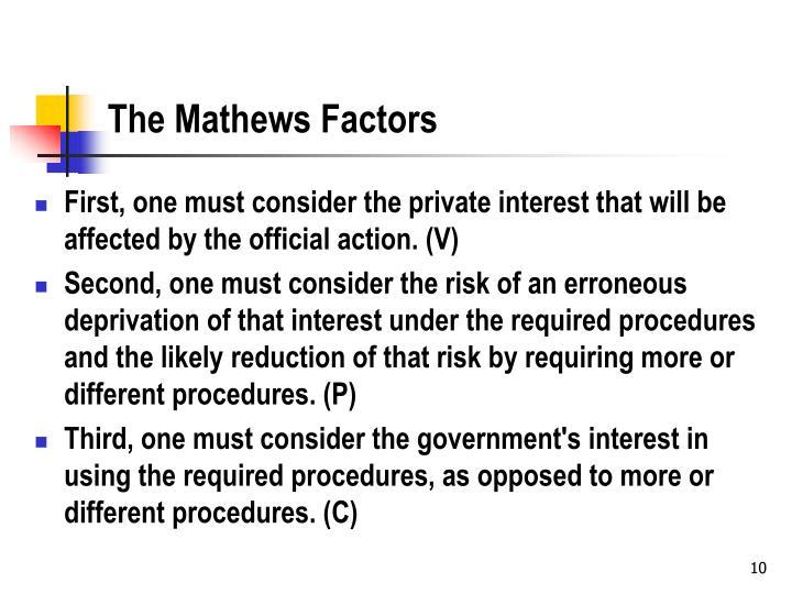 The Mathews Factors