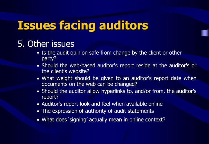 Issues facing auditors