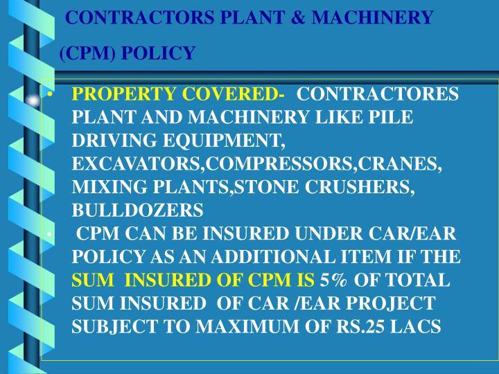 CONTRACTORS PLANT & MACHINERY