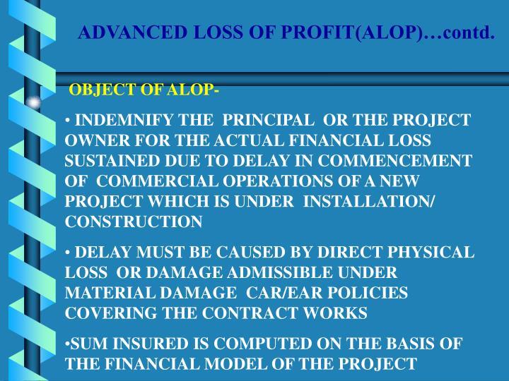 ADVANCED LOSS OF PROFIT(ALOP)…contd.