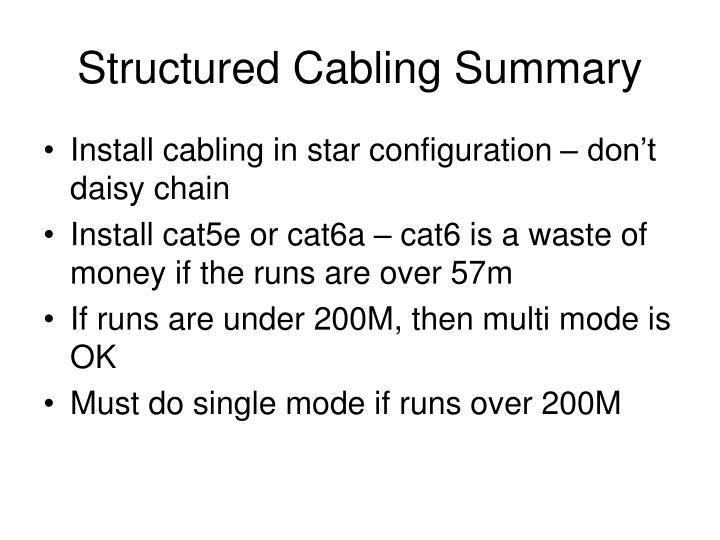 Structured Cabling Summary