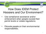 how does idem protect hoosiers and our environment1