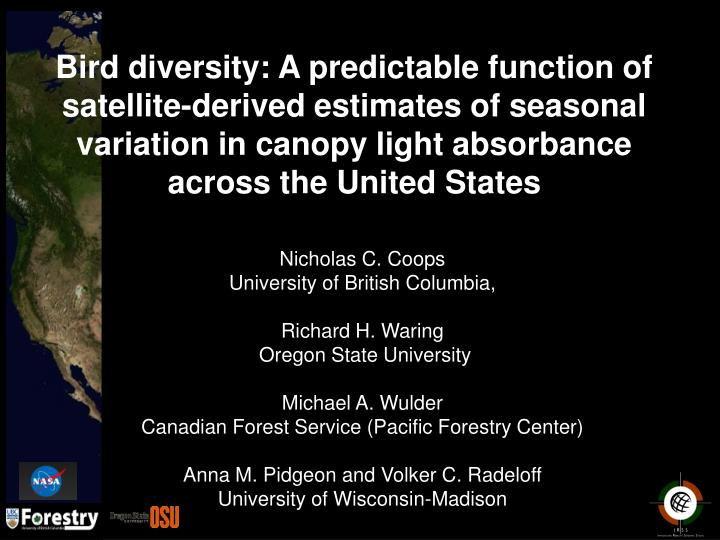 Bird diversity: A predictable function of satellite-derived estimates of seasonal variation in canop...