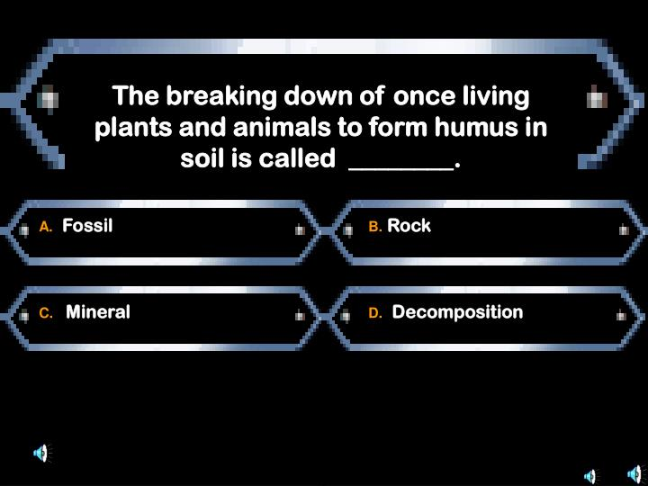 The breaking down of once living plants and animals to form humus in soil is called  ________.