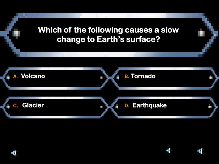 Which of the following causes a slow change to Earth's surface?