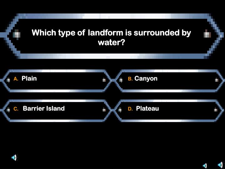 Which type of landform is surrounded by water?