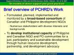 brief overview of pchrd s work