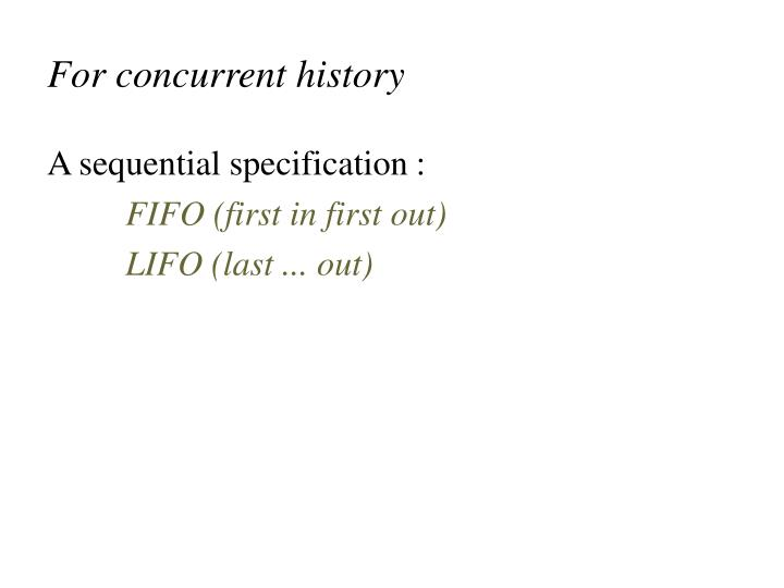 For concurrent history