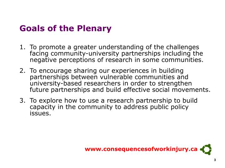 Goals of the plenary