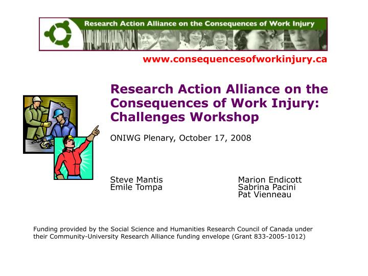 Research Action Alliance on the Consequences of Work Injury: