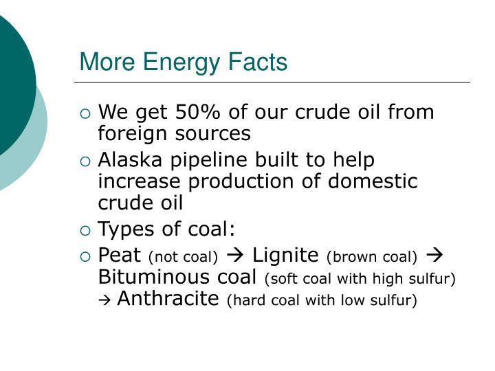More Energy Facts